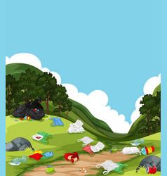 Litter in nature landscape vector