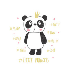 Little panda princess vector