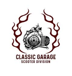 Logo vespa engine fire vector