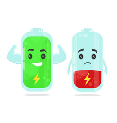 low battery and full power battery vector image