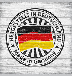 Made in germany stamp on wooden background vector
