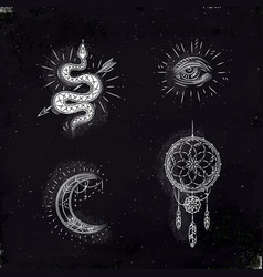 Magic and mystic signs dreamcatcher chalk vector