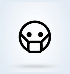 man face with mask icon in trendy flat style vector image