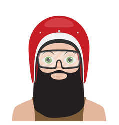 man in helmet motorcycle flat style vector image