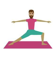 man practicing yoga vector image