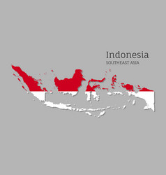 Map indonesia with national flag vector