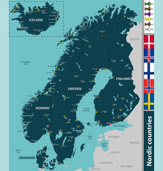 Map of nordic countries vector