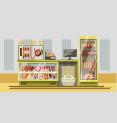 Meat department in supermarket with counter vector