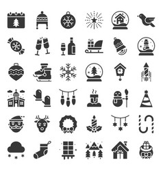 merry christmas icon set glyph design vector image