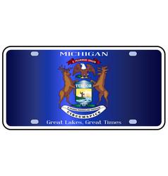 Michigan license plate flag vector