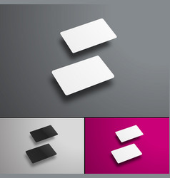 Mockup gift or bank cards in perspective hovering vector