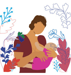 Mother breastfeeding newborn on white vector