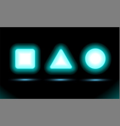 Neon lamp square triangle and circle for vector