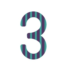 number three design with colorful striped vector image