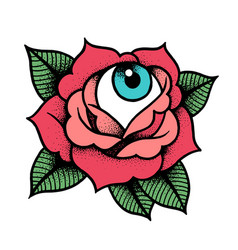 Old school rose tattoo with eye vector