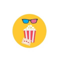 Popcorn box 3D glasses and ticket Cinema Movie vector