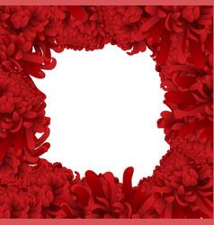 Red chrysanthemum flower border vector