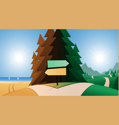 Road and beach or mountains destination and vector