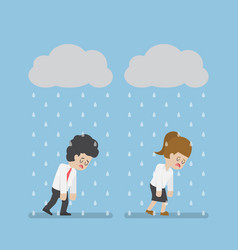 Sadness businessman walking under cloud and rain vector