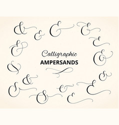 set custom decorative ampersands isolated on vector image