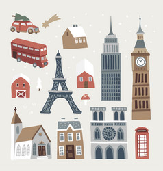 set cute winter city town and village icons vector image