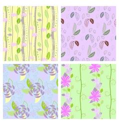 Set four textured natural seamless patterns vector