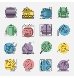 Set of Sauna Line Icon vector