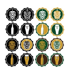 Set of vintage beer cap labels vector