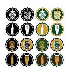 Set of vintage beer cap labels vector