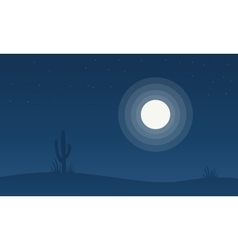 Silhouette of cactus with moon vector