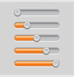 slider bars gray orange volume level console vector image