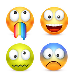 Smiley set crazyhappy emoticon yellow face with vector