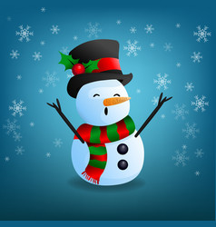 snowman funny on snowflake and blue background vector image