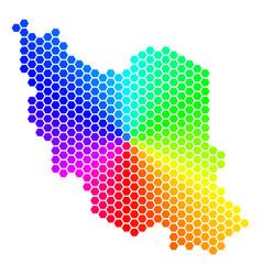 spectrum hexagon iran map vector image