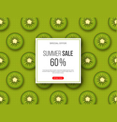Summer sale banner with sliced kiwi pieces and vector