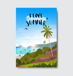 sweet summer landscape palm tree beach badge vector image