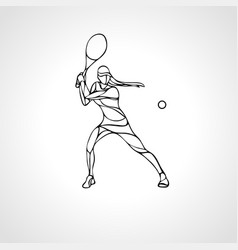 tennis player female stylized outline vector image