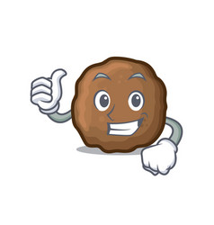Thumbs up meatball character cartoon style vector