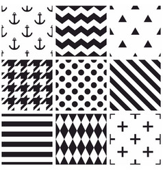 tile black and white pattern set with polka dots vector image