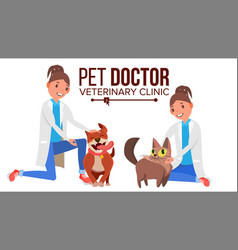 Veterinarian female dog and cat medicine vector