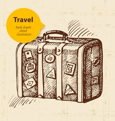 vintage background with travel suitcase vector image