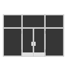 White Shopfront with Large Black Blank Windows vector image