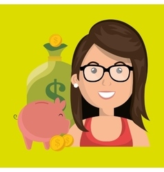 woman money cash coins vector image