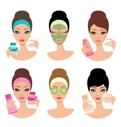 Women and cosmetics vector