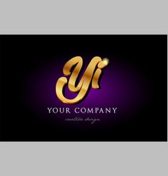 Yi y i 3d gold golden alphabet letter metal logo vector