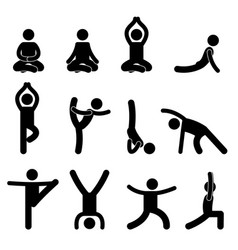 Yoga meditation exercise stretching pictograph vector