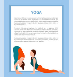 Yoga poster with frame text vector