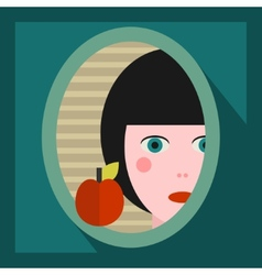 Young girl face in the mirror vector image