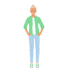 Young teenager boy in trendy outfit vector