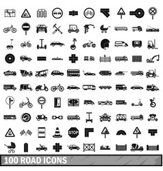 100 road icons set simple style vector image